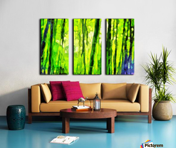 Bamboo forest oil painting inVincent Willem van Goghstyle. 3.  Split Canvas print