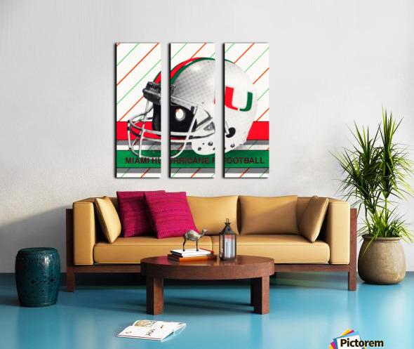 Retro Miami Hurricane Football Helmet Art Split Canvas print