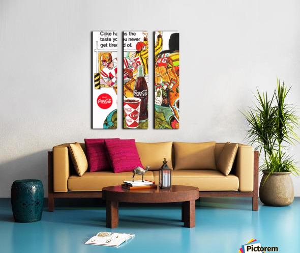 1969 Coke Football Ad Poster Split Canvas print