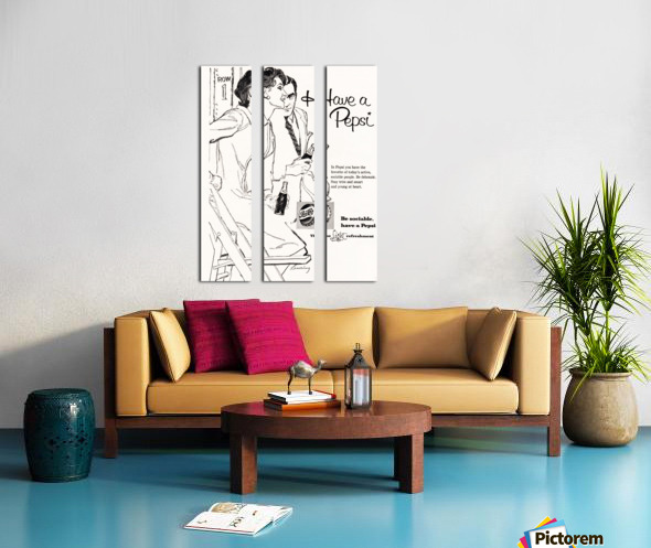 1960 Pepsi Advertisement Poster Split Canvas print