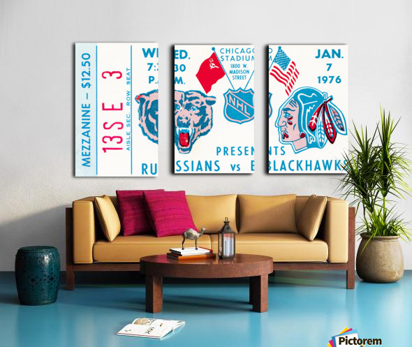 1976 Russians vs. Chicago Blackhawks Ticket Stub Art Split Canvas print