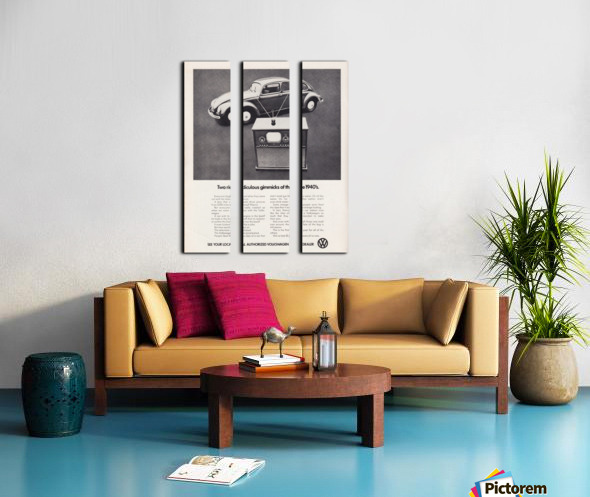 1971 Vintage Volkswagen Car Ad Poster Split Canvas print