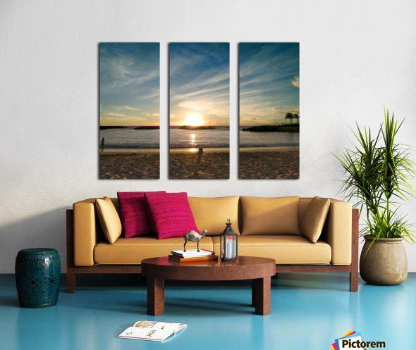 By the Fading Light of the Sun - Tropical Sunset Hawaii Split Canvas print