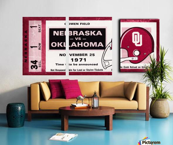 1971 Oklahoma Sooners vs. Nebraska Cornhuskers Remix Split Canvas print