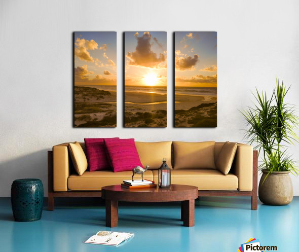 Atlantic Sunset over Praia Del Rey - Portugal Split Canvas print