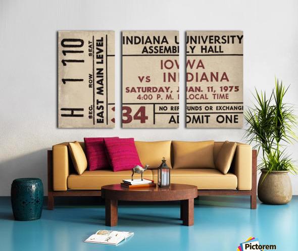 1975 Indiana vs. Iowa Basketball Ticket Metal Sign Split Canvas print
