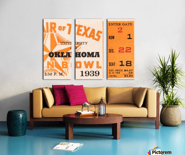 1939 Texas Longhorns vs. Oklahoma Sooners Split Canvas print