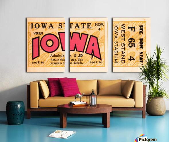 1933 Iowa State vs. Iowa Football Ticket Art Split Canvas print