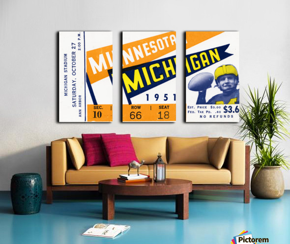 1951 Michigan vs. Minnesota Football Ticket Art Split Canvas print
