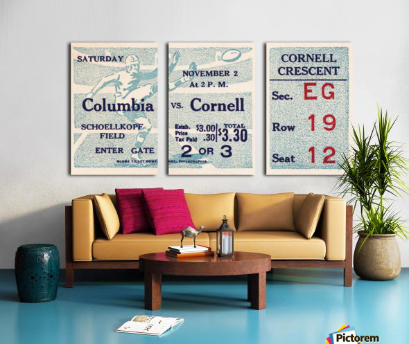 1935 Columbia vs. Cornell Football Ticket Art Split Canvas print