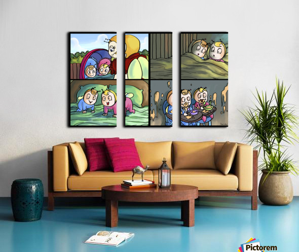 Mom and the Twins - 4 panel Favorites for Kids Room and Nursery - Bugville Critters Split Canvas print