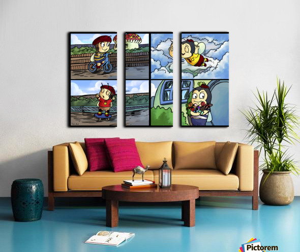 Buster the Bee in Action   4 panel Favorites for Kids Room and Nursery   Bugville Critters Split Canvas print