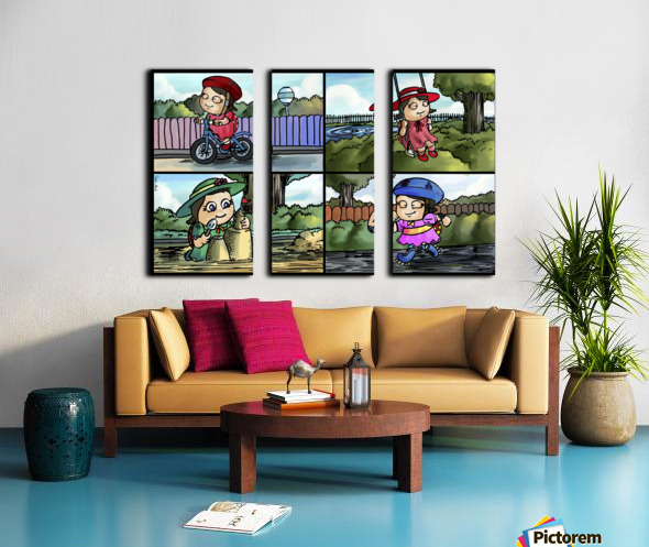 Lass the Ladybug in Action   4 panel Favorites for Kids Room and Nursery   Bugville Critters Split Canvas print