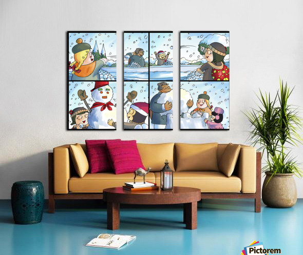 Winter Wonderland Fun   Snowballs  Snowforts and Snowman   4 panel Favorites for Kids Room and Nursery   Bugville Critters Split Canvas print