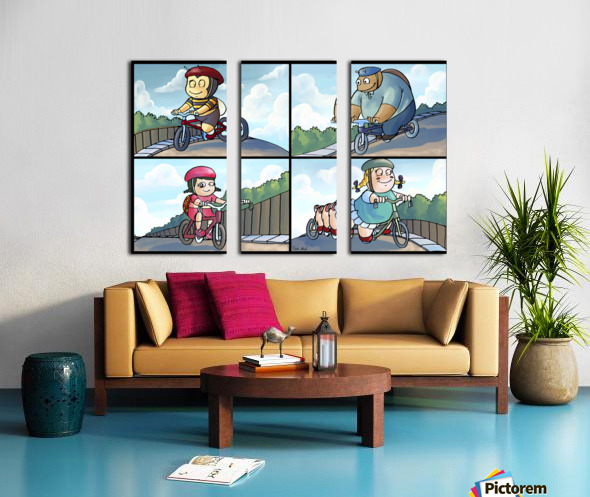Time for a Bike Ride   Best Friends   4 panel Favorites for Kids Room and Nursery   Bugville Critters Split Canvas print