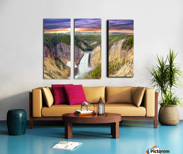 Grand Canyon of Yellowstone - The Falls in the Waning Light of Day - Yellowstone National Park at Sunset Split Canvas print