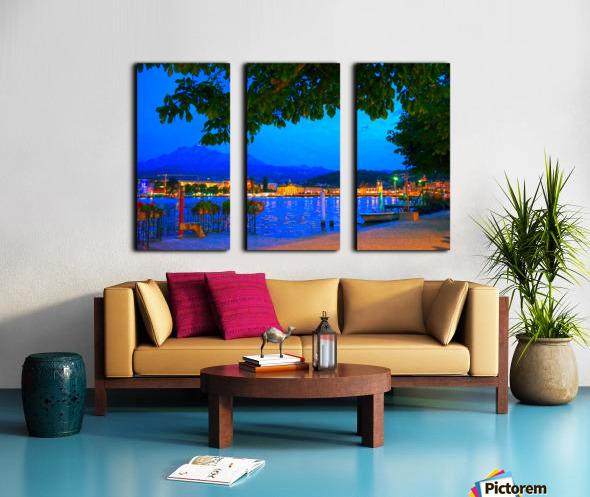 City Lights over Lake Lucerne Switzerland Split Canvas print