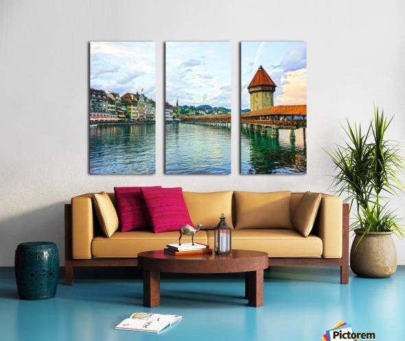 Chapel Bridge and Old Town at Sunset Lucerne Switzerland Split Canvas print