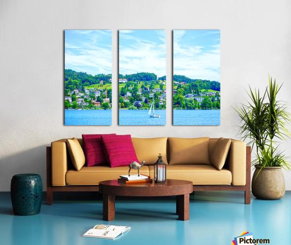Sailboat On Lake Lucerne with Alpine Village in Background Split Canvas print