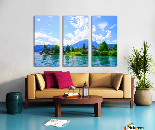 Perfect Day on the shores of Lake Lucerne Switzerland Split Canvas print