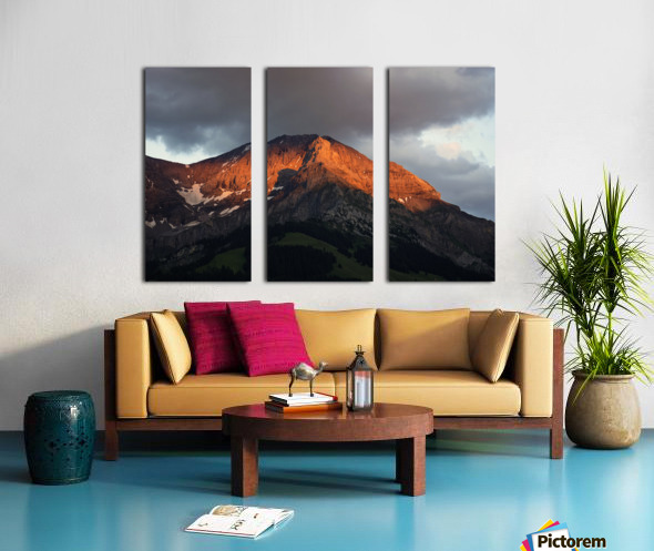 Mountain Bathed in the Golden Rays of the Sun at Sunset in Switzerland 3 of 3 Split Canvas print