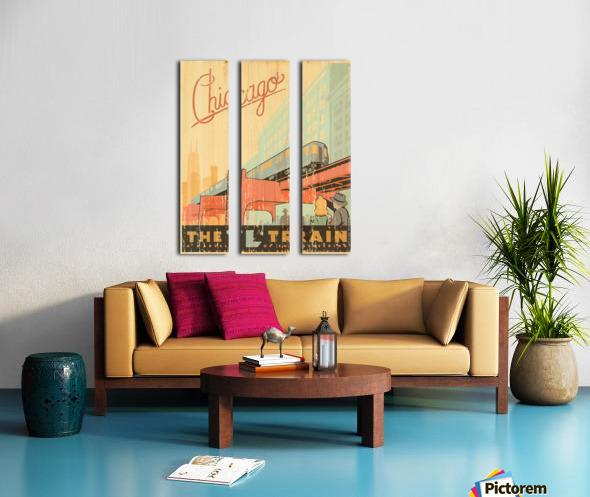 Chicago L Train Vintage Art Poster Split Canvas print