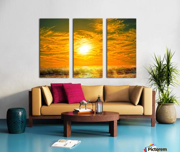 Wild Waves Break as the Sun Sets over Catalina Island in Newport Beach California Split Canvas print