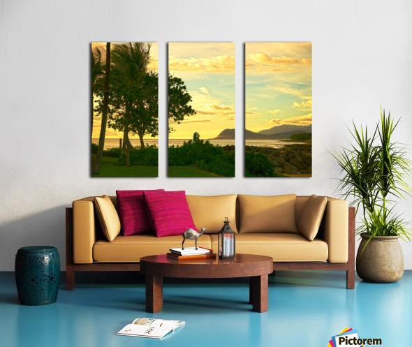 Sunset over the Bay Oahu Hawaii Split Canvas print