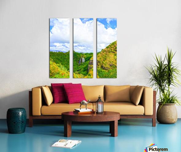 The Falls at the Mountain Overlook on Kauai Square Split Canvas print