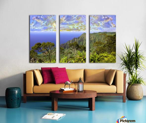Sunset at Puu O Kila Lookout Kohala Mountains on the Island of Kauai in Hawaii Panorama Split Canvas print