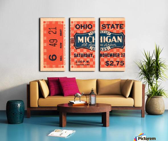 1935 Michigan Wolverines vs. Ohio State Buckeyes Ticket Art Split Canvas print