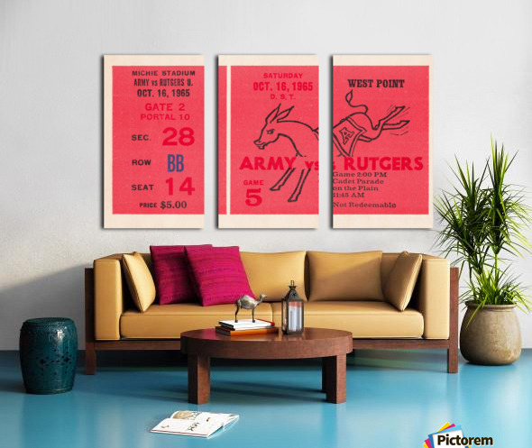 1965 Army vs. Rutgers Football Ticket Art Split Canvas print