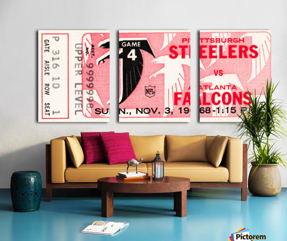 1968 Atlanta Falcons vs. Pittsburgh Steelers Ticket Art Split Canvas print