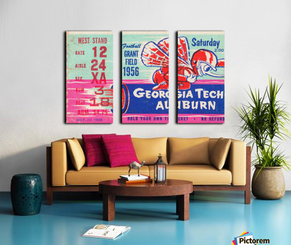 1956 Georgia Tech vs. Auburn Football Ticket Stub Art Split Canvas print