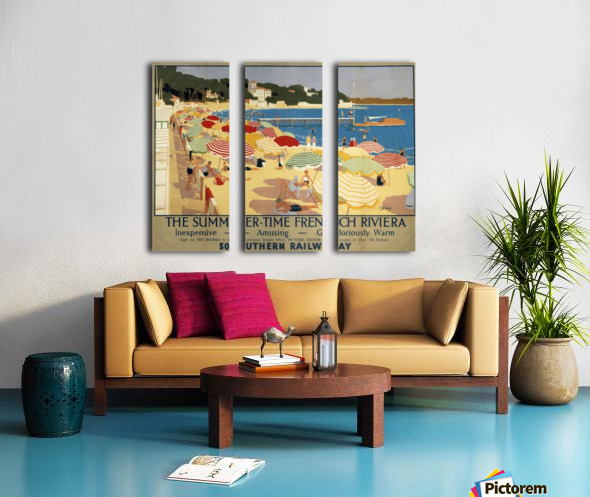 The Summertime French Riviera Southern Railway travel poster Split Canvas print