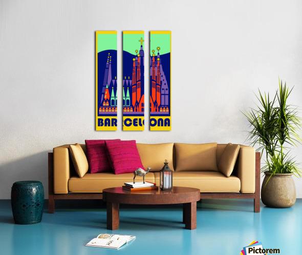 Barcelona travel poster Split Canvas print