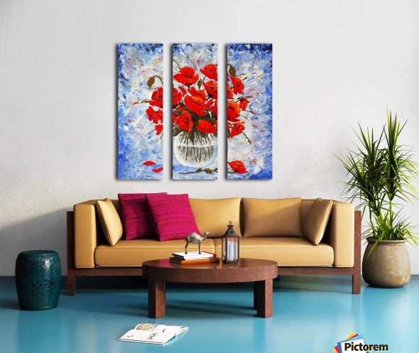 Morning Red Poppies original palette knife painting Split Canvas print
