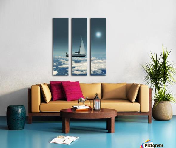 Navigating Trough Clouds Fantasy Collage Photo Split Canvas print