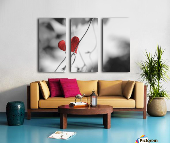 Red heart shaped leaf Split Canvas print