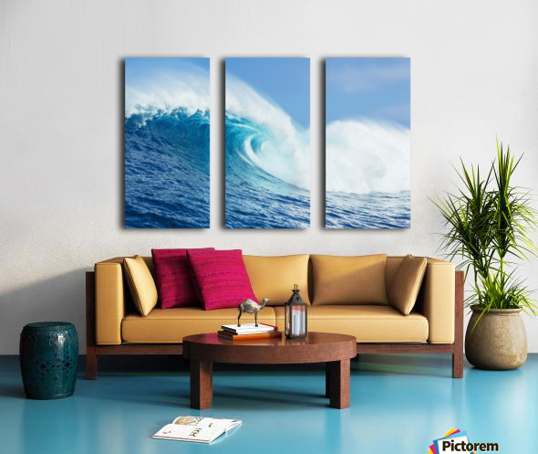 A large ocean wave breaks at the big wave spot know as Jaws or Peahi; Maui, Hawaii, United States of America Split Canvas print