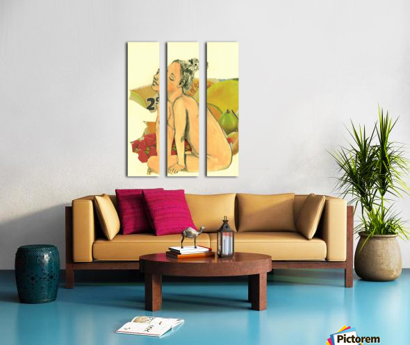 Marie with strawberries Split Canvas print