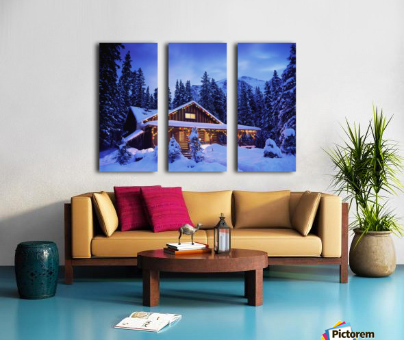 Cabin in the woods illuminated by Christmas lights Split Canvas print