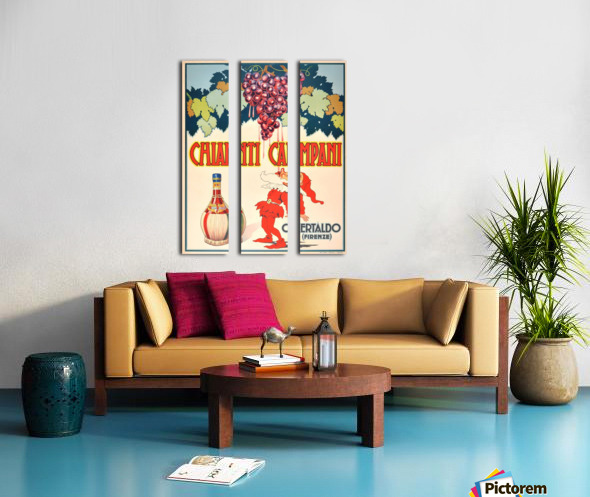 Original Vintage 1940 Advertising Poster For Chianti Campani Split Canvas print