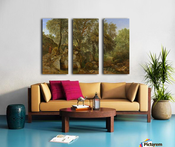 View in the Park of the Villa Chigi at Ariccia Split Canvas print