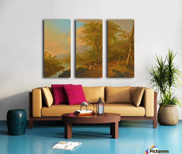 Travellers in a river landscape Split Canvas print
