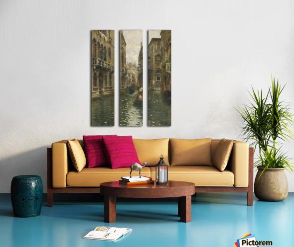 A family outing on a Venetian canal Split Canvas print