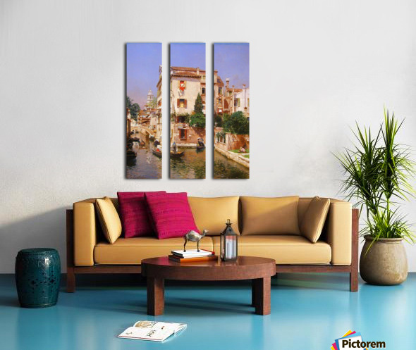 Gondoliers On A Venetian Canal Split Canvas print