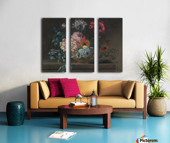 Still life of variegated carnations and other flowers on a ledge Split Canvas print