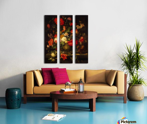 Flowers and small animals Split Canvas print