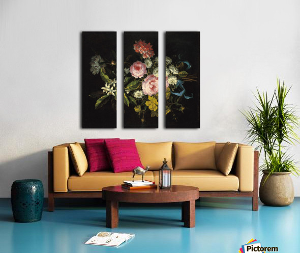 Bouquet of Chamomile, French roses and other flowers Split Canvas print